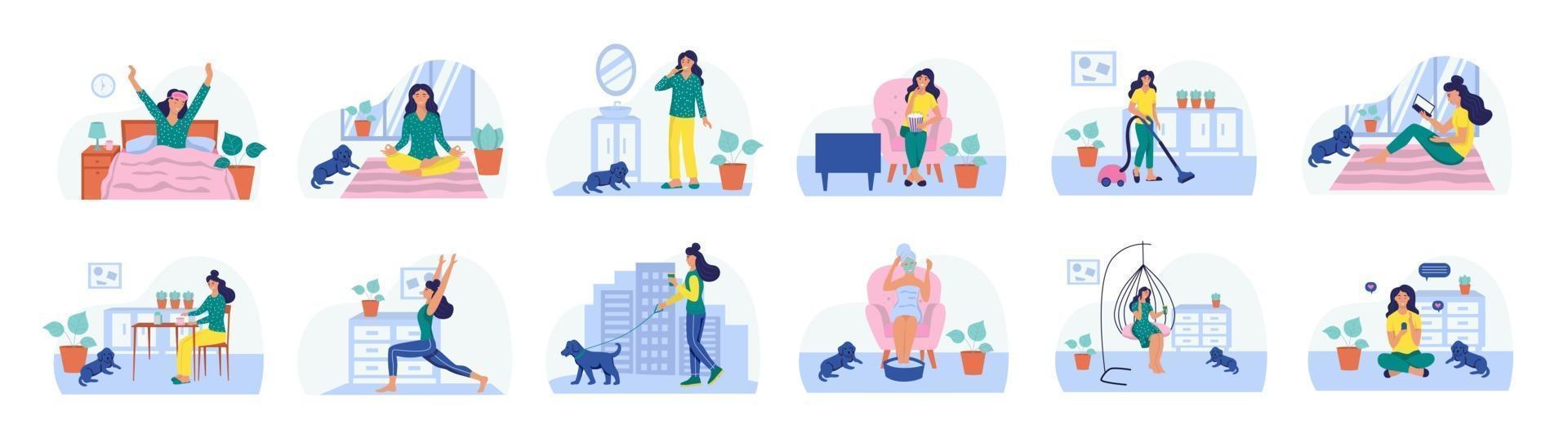 conjunto de rotinas diárias. o conceito de vida cotidiana, lazer cotidiano e atividades de trabalho. ilustração vetorial plana. vetor