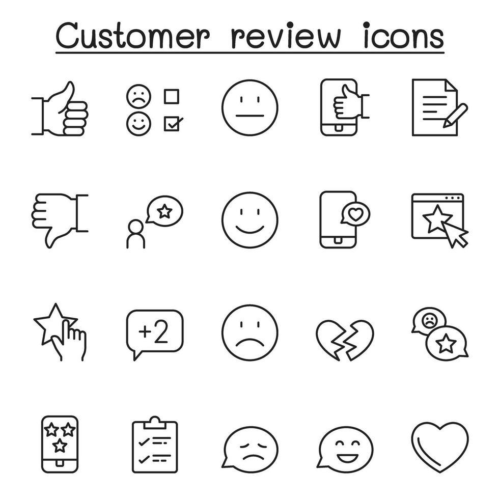 ícones de avaliação do cliente definidos em estilo de linha fina vetor