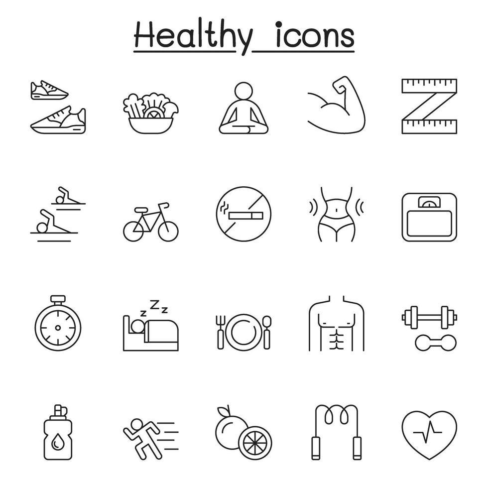 ícones saudáveis definidos em estilo de linha fina vetor