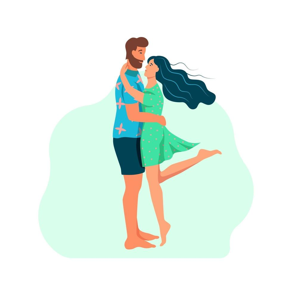 um casal apaixonado abraços. jovem e mulher com roupas de verão. ilustração vetorial plana dos desenhos animados vetor