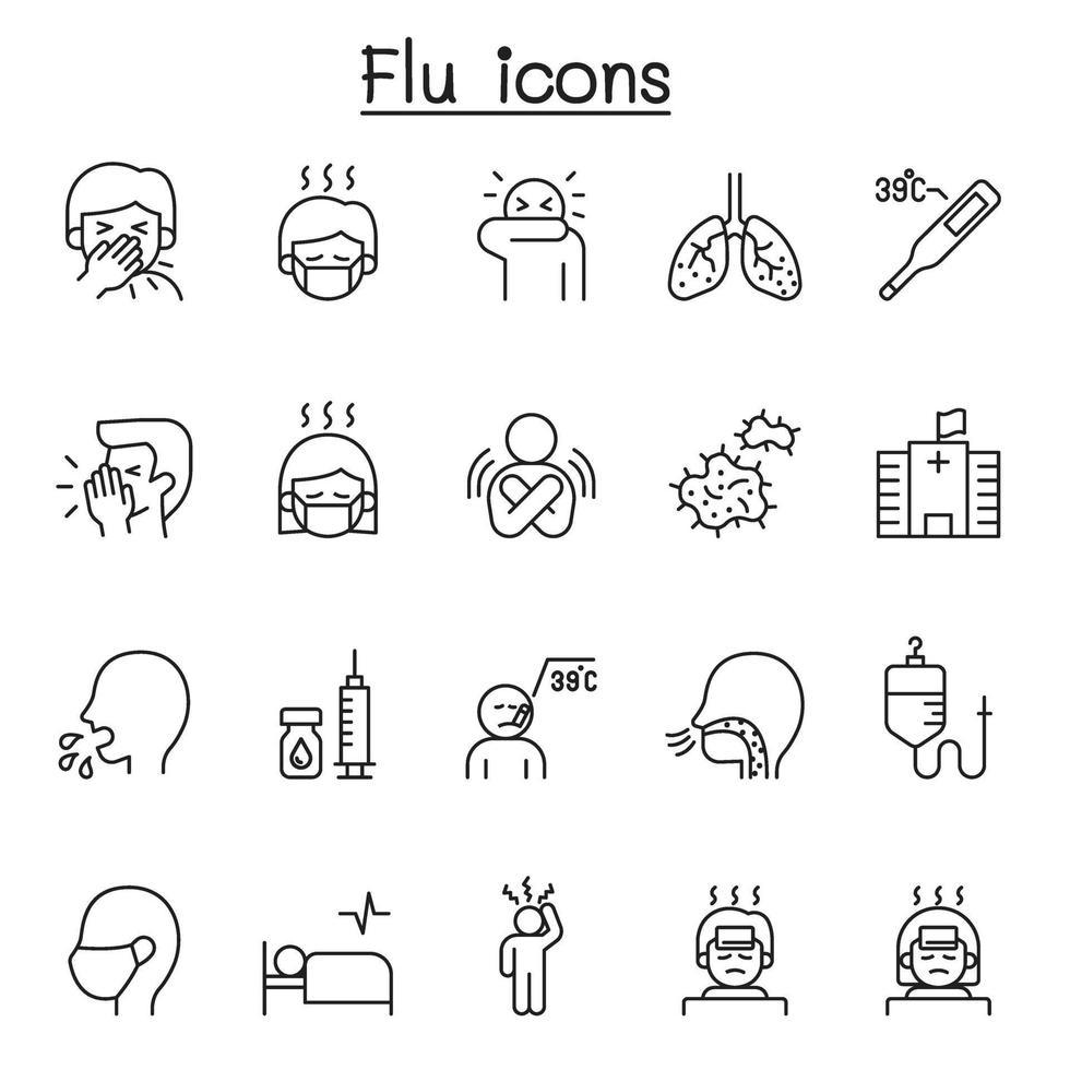 ícones de gripe, doença e doença definidos em estilo de linha fina vetor