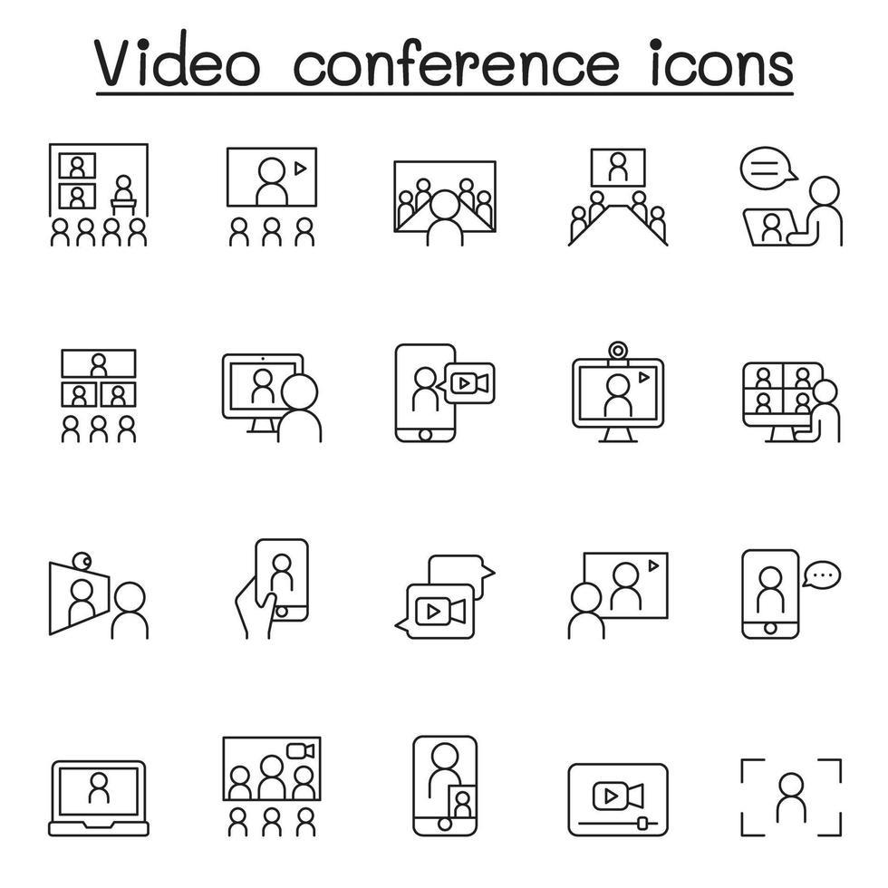 ícone de reunião e videoconferência definido em estilo de linha fina vetor