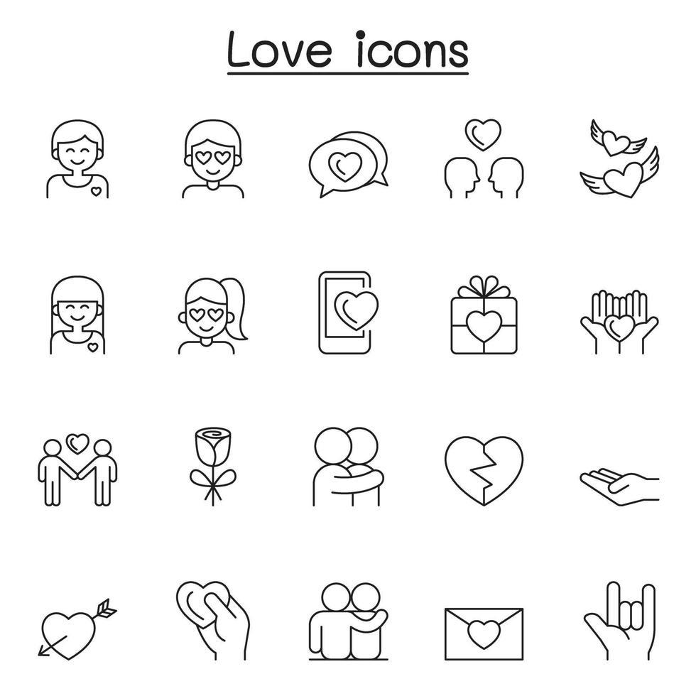 ícones de amor definidos em estilo de linha fina vetor
