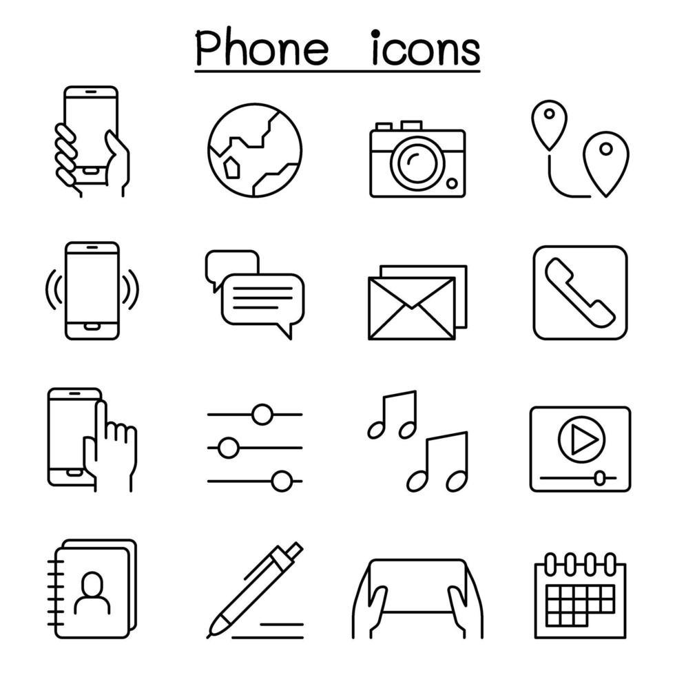 ícone de telefone inteligente definido em estilo de linha fina vetor