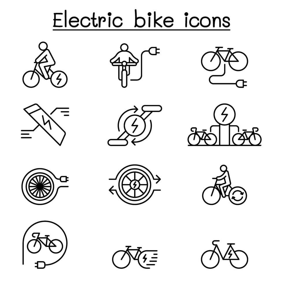 ícone de bicicleta elétrica definido em estilo de linha fina vetor
