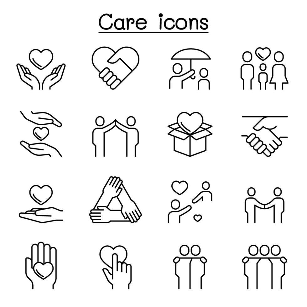 cuidado, gentileza, ícone generoso definido em estilo de linha fina vetor