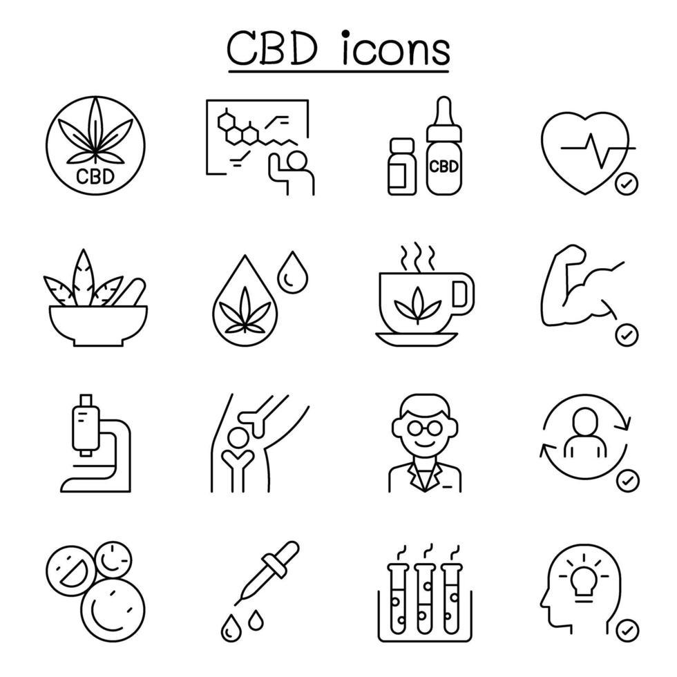 ícone cbd, cannabis, maconha definido em estilo de linha fina vetor
