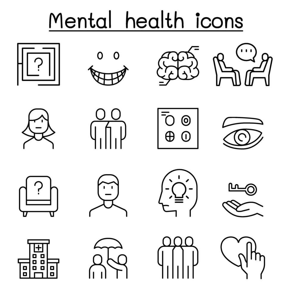 ícone de saúde mental definido em estilo de linha fina vetor