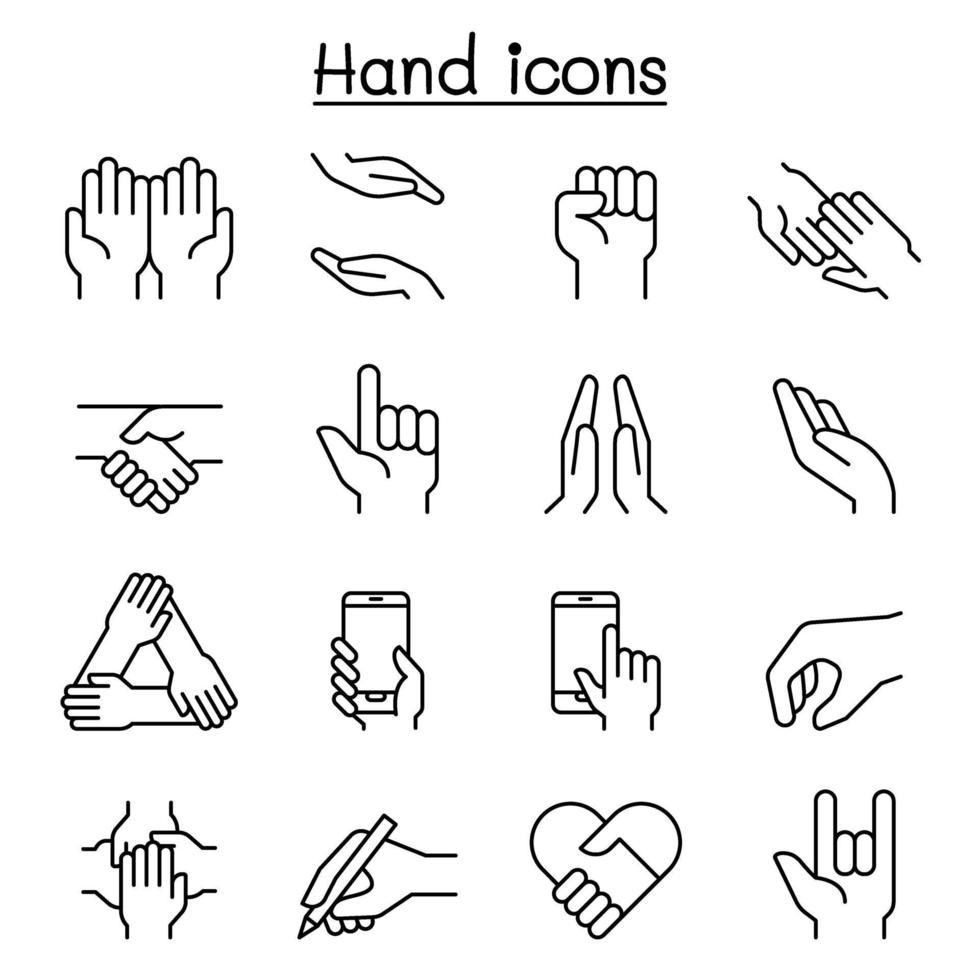 ícone de mão definido em estilo de linha fina vetor