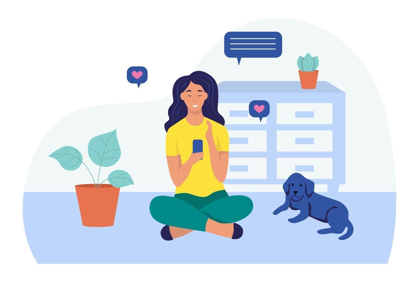 jovem usando o smartphone no chão. o conceito de comunicação online. vetor