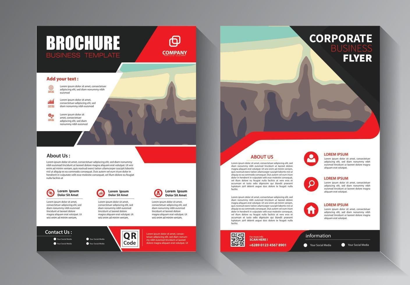 conjunto de modelos de negócios de panfleto vermelho vetor