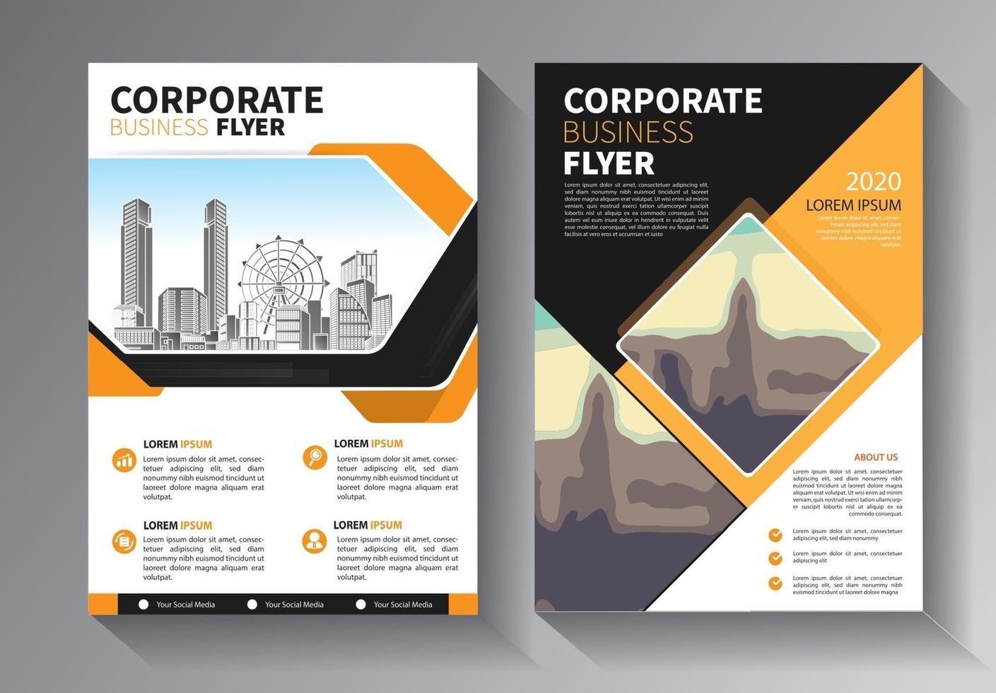 conjunto de modelos de negócios de panfleto amarelo vetor