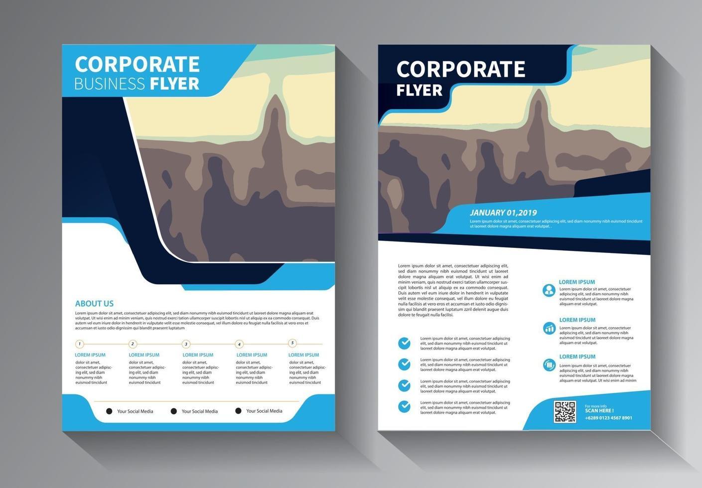 conjunto de modelos de negócios de panfleto azul vetor