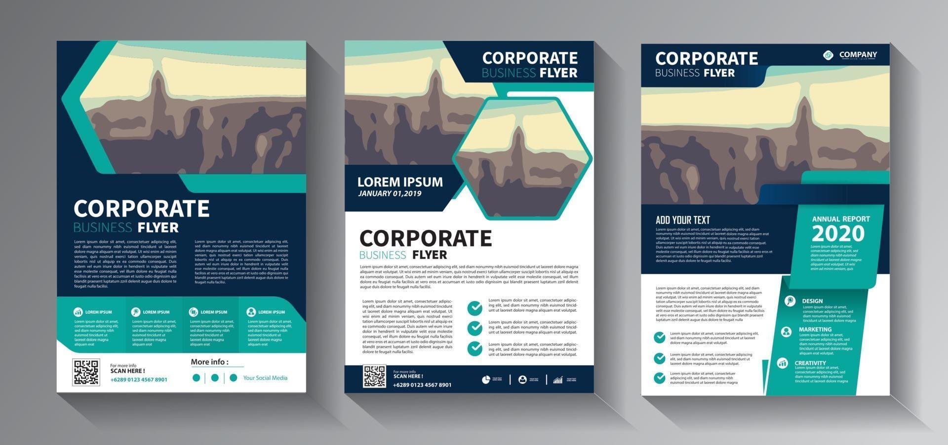 Conjunto de modelos de negócios de panfleto azul-petróleo vetor