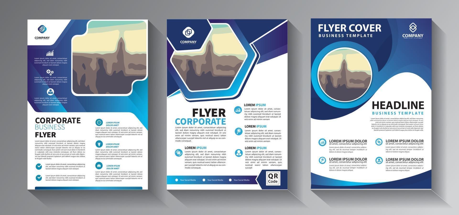 coleção de modelos de negócios de panfleto azul vetor