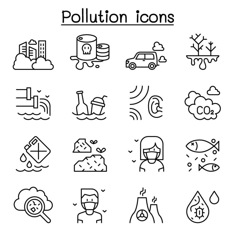 ícone de poluição definido em estilo de linha fina vetor