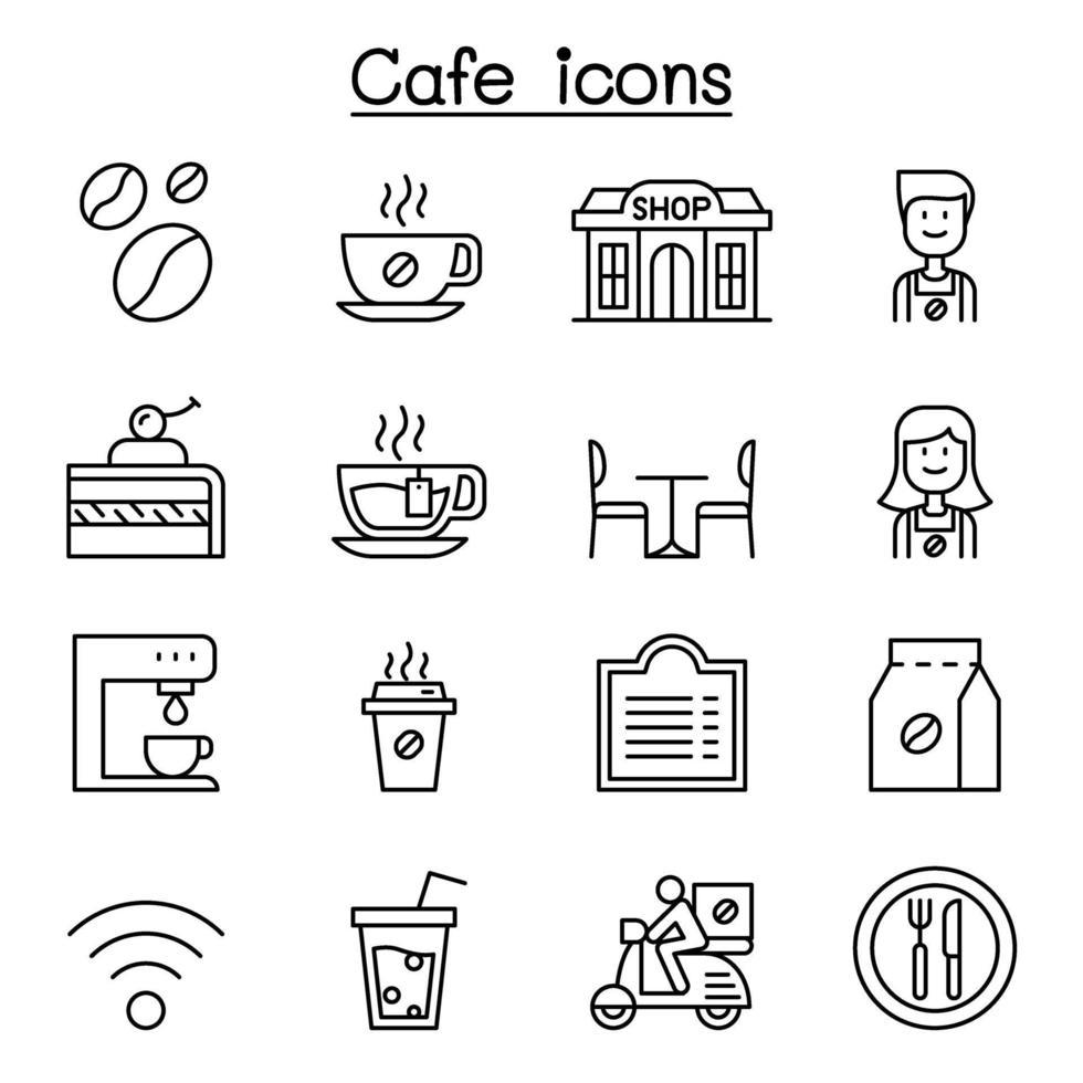café, ícone de café definido em estilo de linha fina vetor