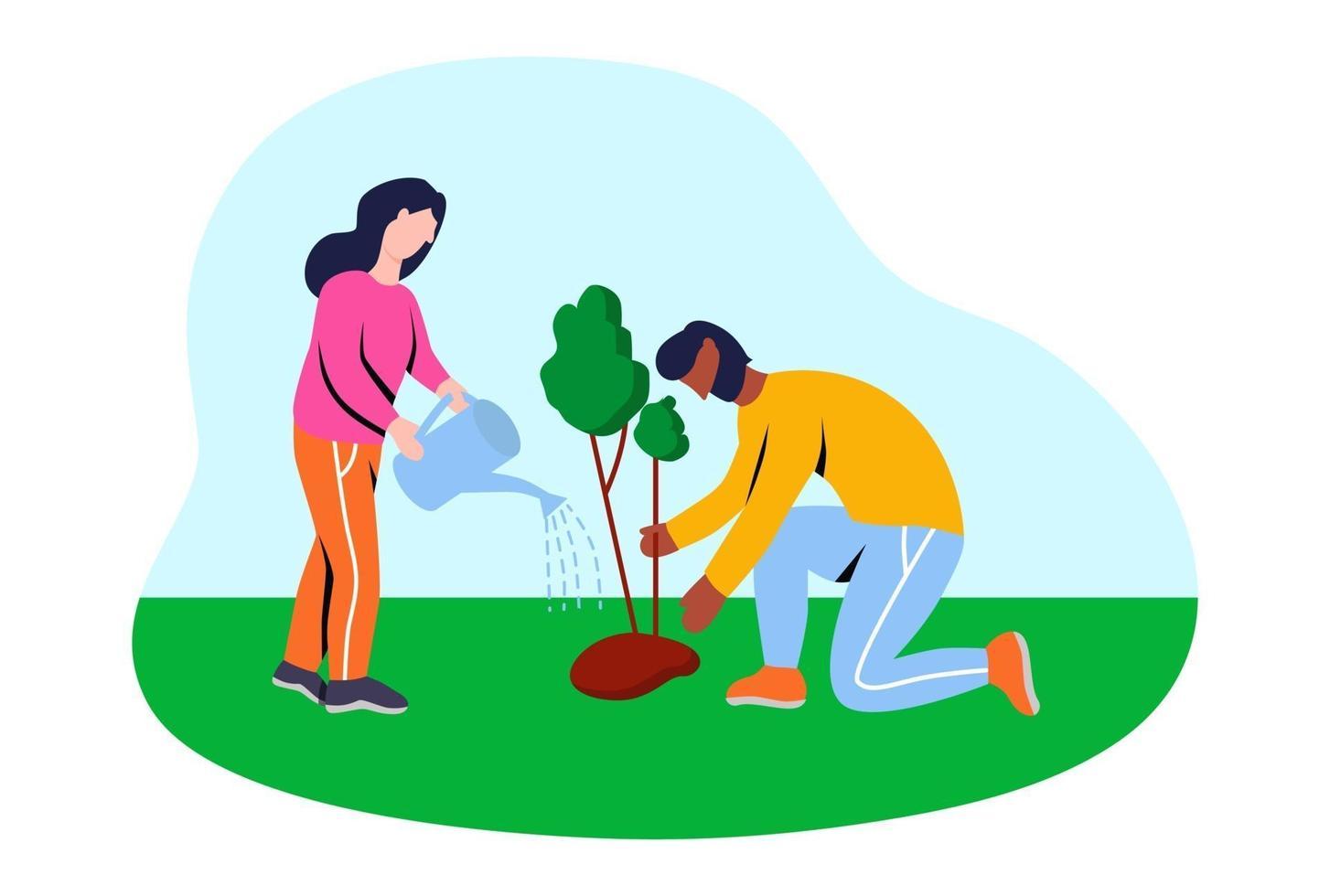 voluntários plantando árvores. ilustração vetorial plana. vetor