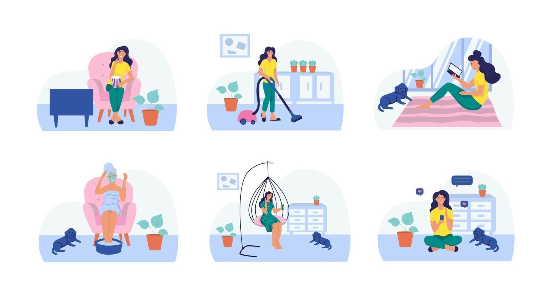 uma mulher lê, assiste tv, aspira, faz máscara cosmética, toma café, senta com o celular. definir. o conceito de vida cotidiana, lazer cotidiano e atividades de trabalho. ilustração vetorial plana. vetor