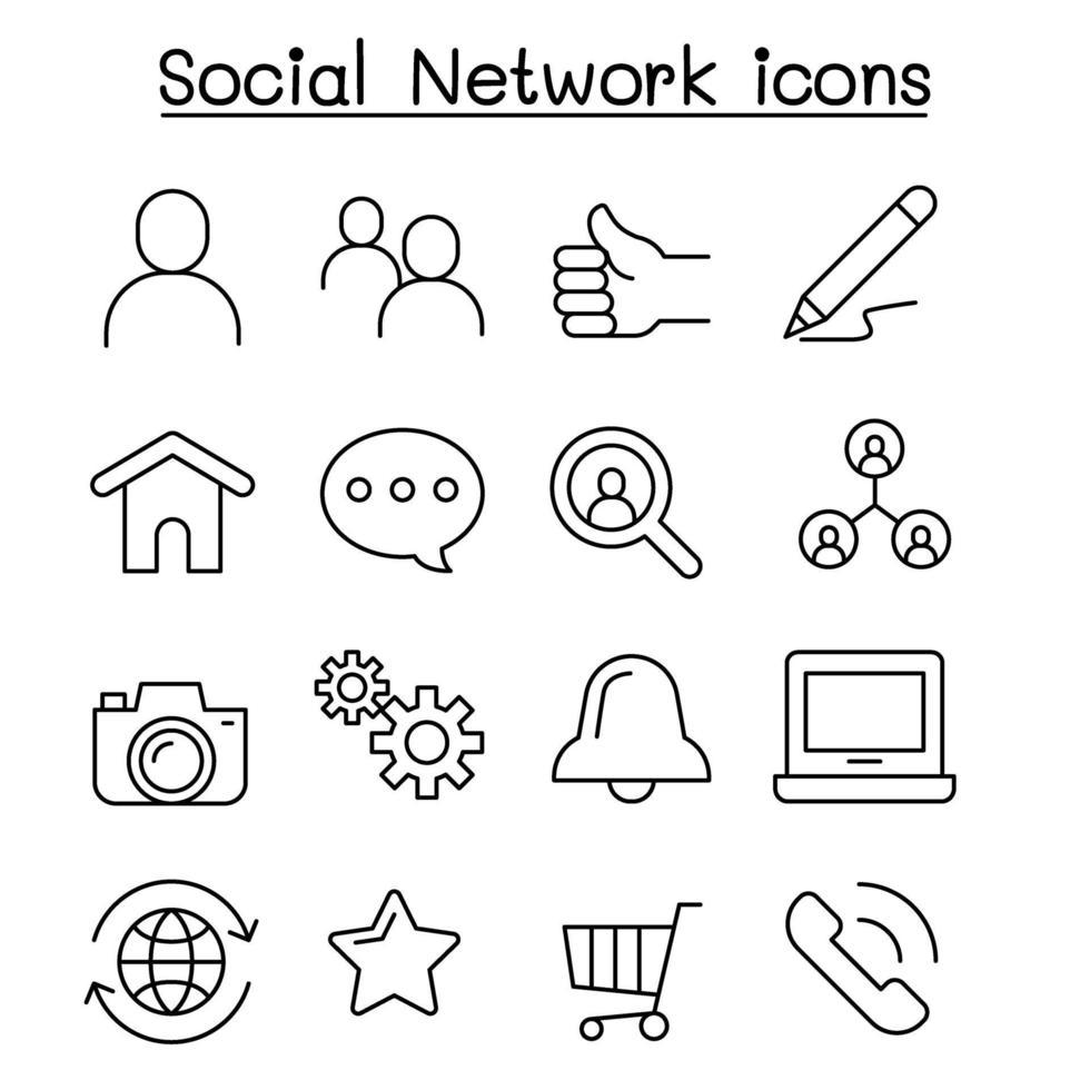 ícone de rede social definido em estilo de linha fina vetor