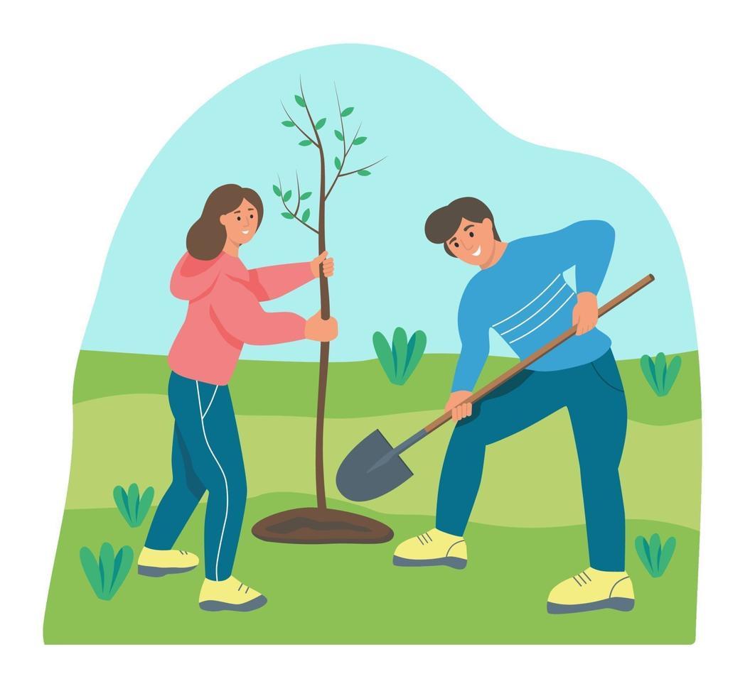 fazendeiros plantando uma árvore vetor