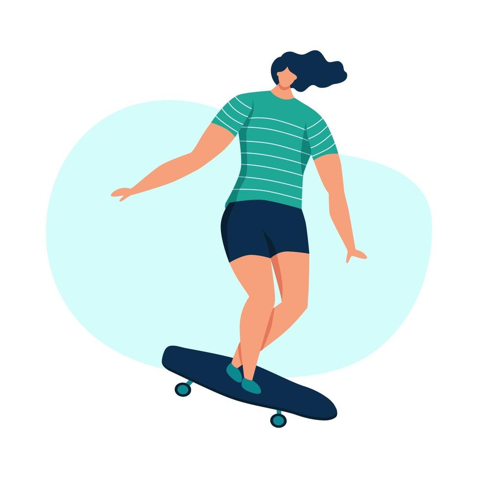 jovem mulher andando de skate vetor