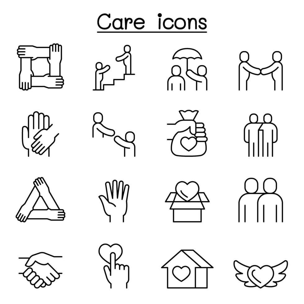 cuidar, proteger, caridade, ícone de doação definido em estilo de linha fina vetor