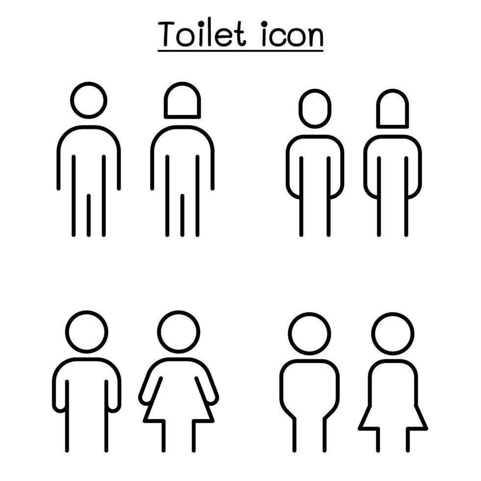 banheiro, sinal de banheiro em estilo de linha fina vetor