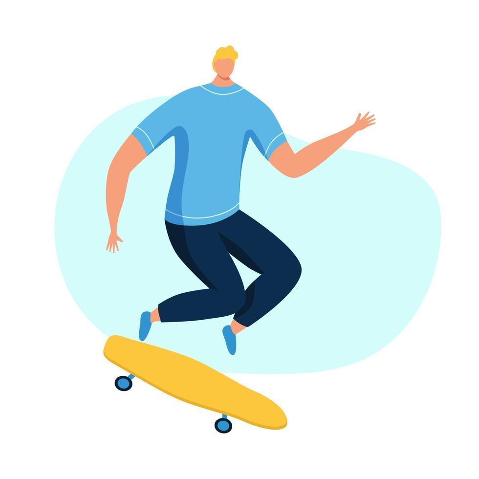 jovem andando de skate vetor