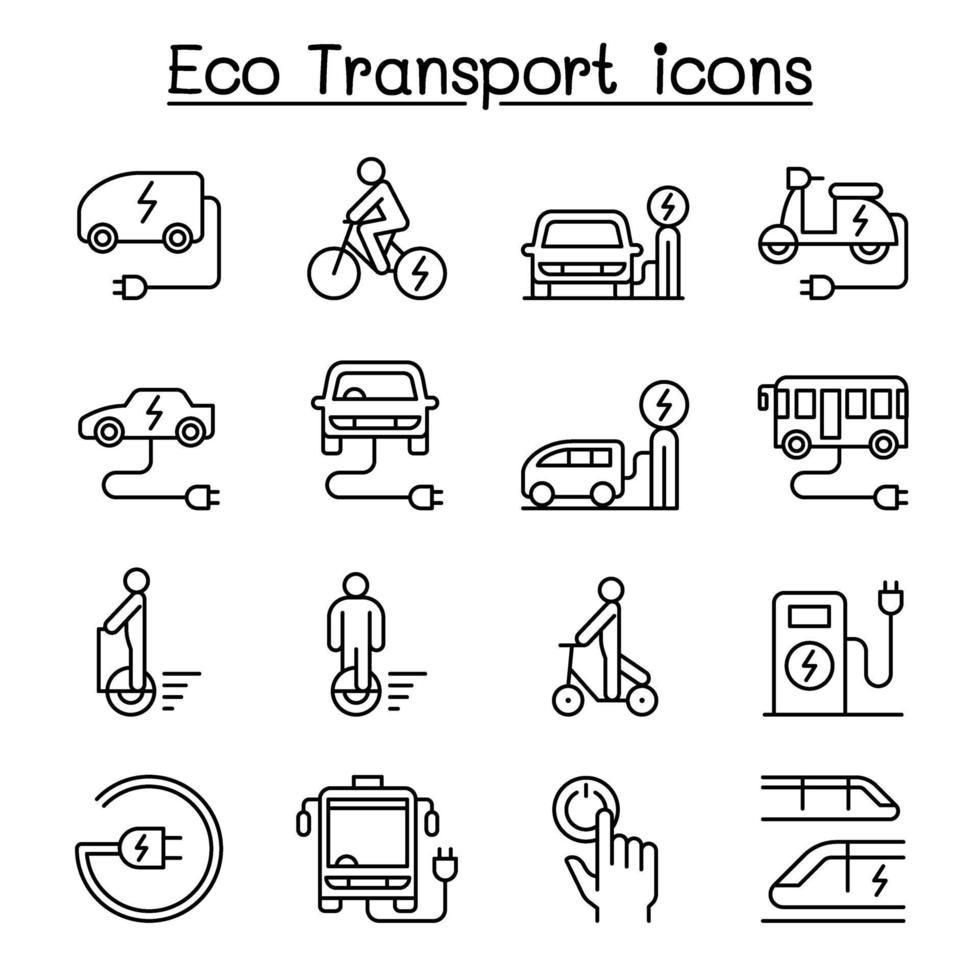 Ícone de transporte ecológico definido em estilo de linha fino vetor