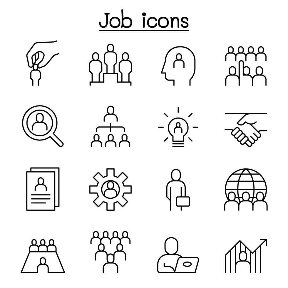 ícone de recursos humanos definido em estilo de linhas finas vetor