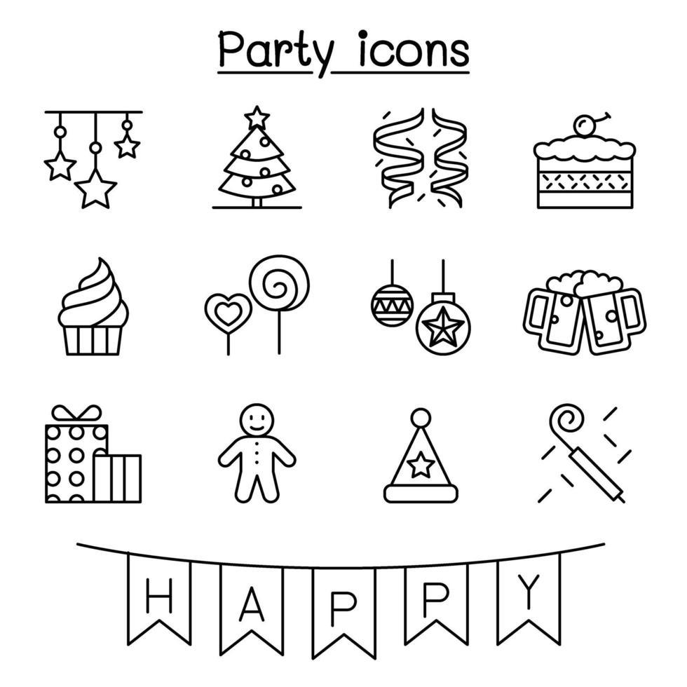 festa, celebração, ano novo, ícone de aniversário definido em estilo de linha fina vetor