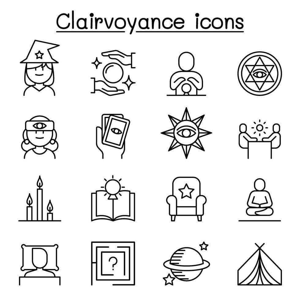 clarividência, ícone de cartomante definido em estilo de linha fina vetor