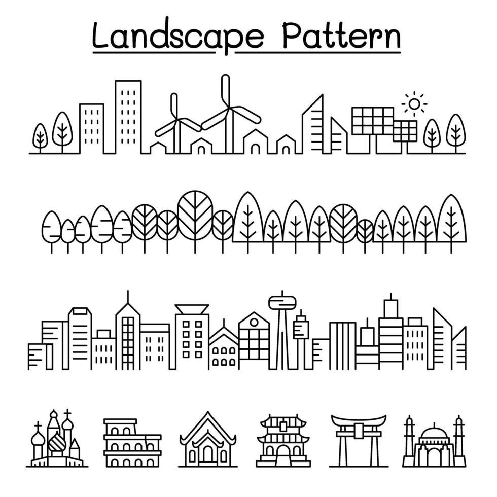 paisagem urbana, floresta, cidade inteligente, design gráfico de vetor de referência