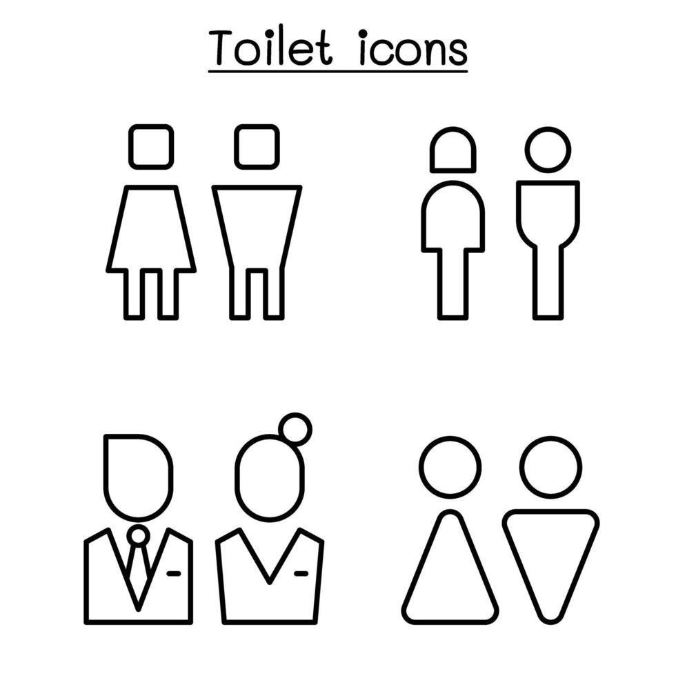 ícone de banheiro definido em estilo de linha fina vetor