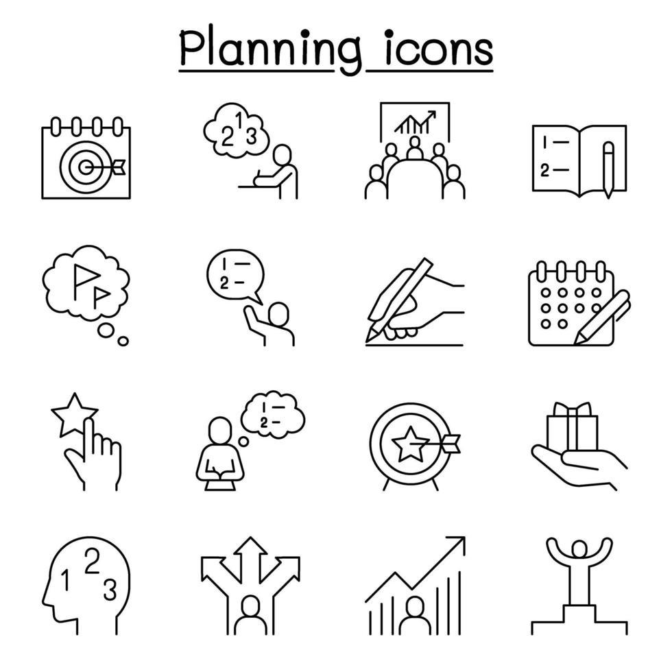 planejamento, estratégia, ícone de cronograma definido em estilo de linha fina vetor
