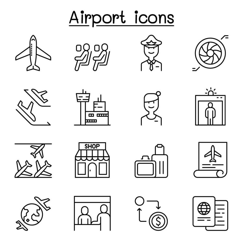 ícone de aeroporto definido em estilo de linha fina vetor