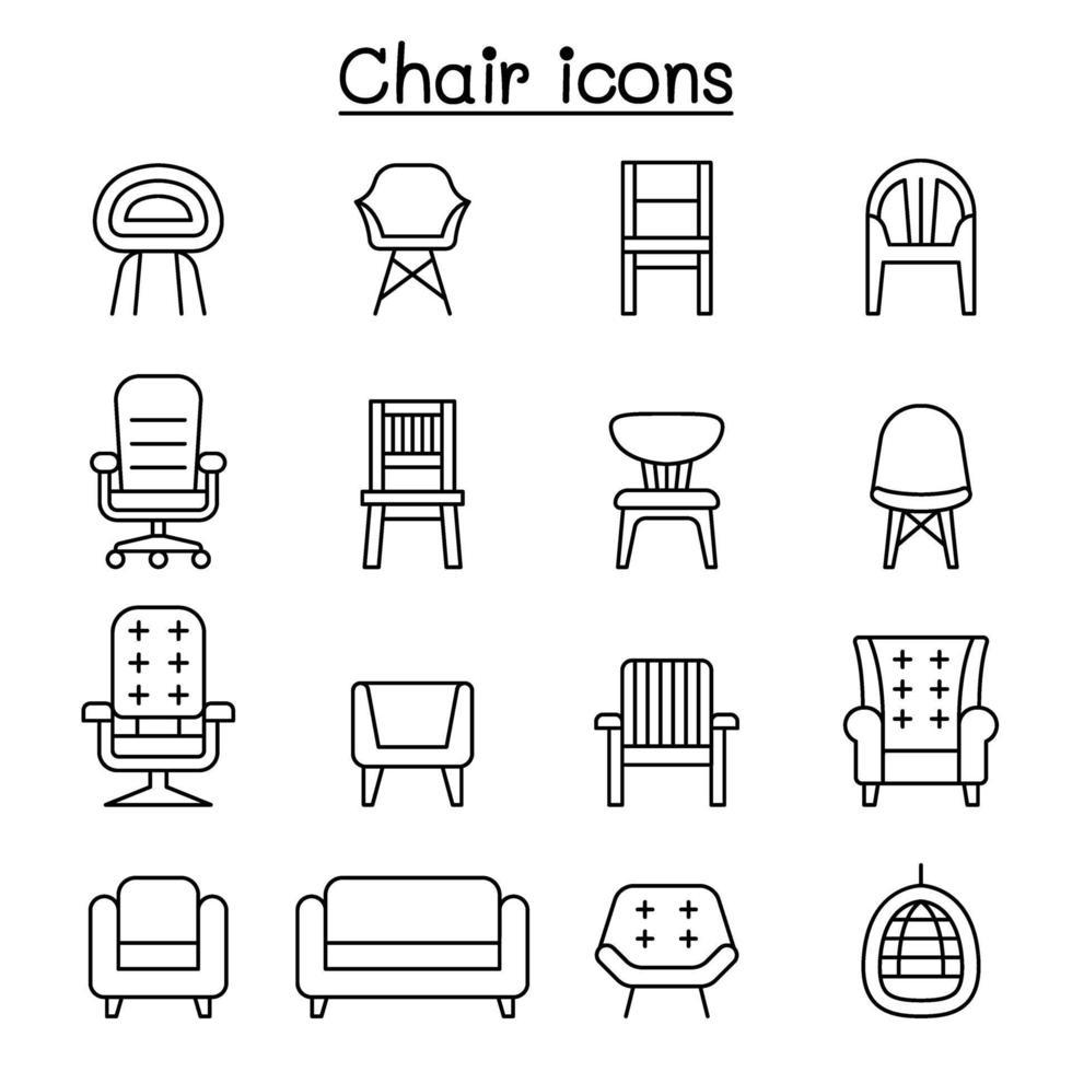 cadeira e sofá do ícone de vista frontal definido em estilo de linha fina vetor