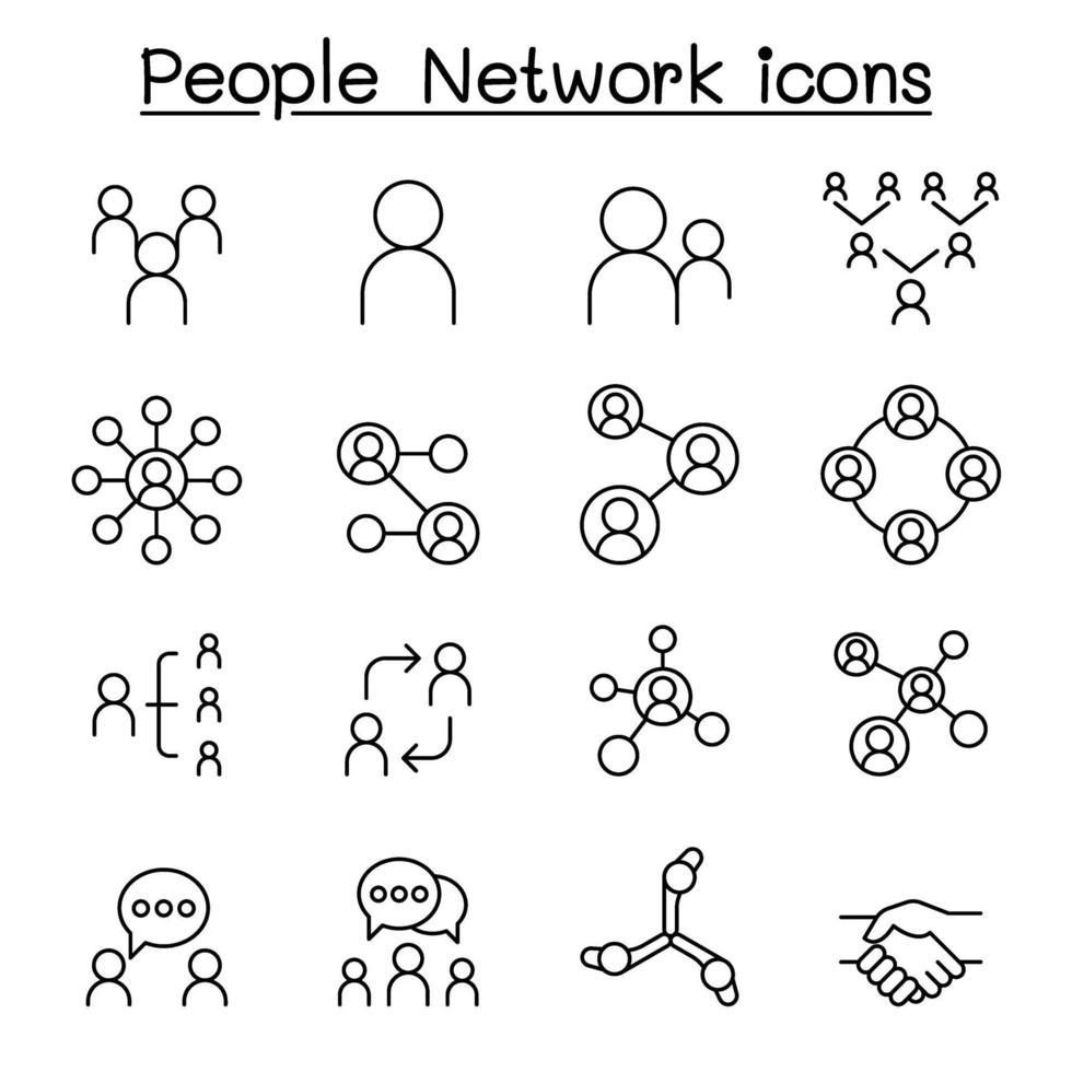 rede social, ícone de rede de pessoas definido em estilo de linha fina vetor