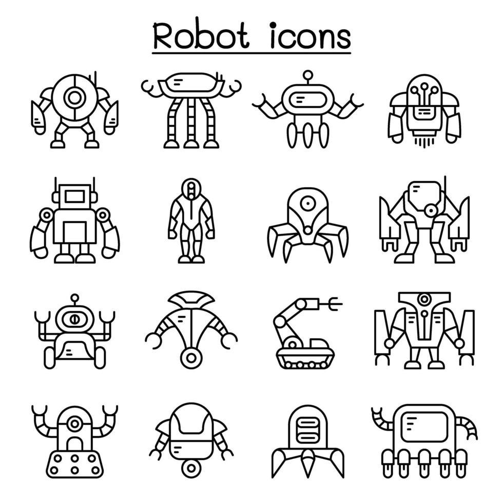 ícone do robô definido em estilo de linha fina vetor