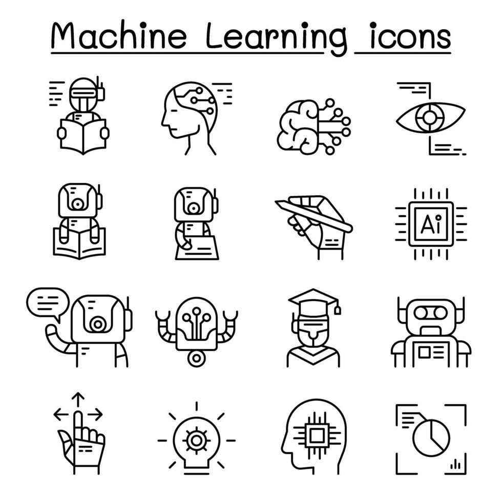 conjunto de ícones de aprendizado de máquina em estilo de linha fina vetor