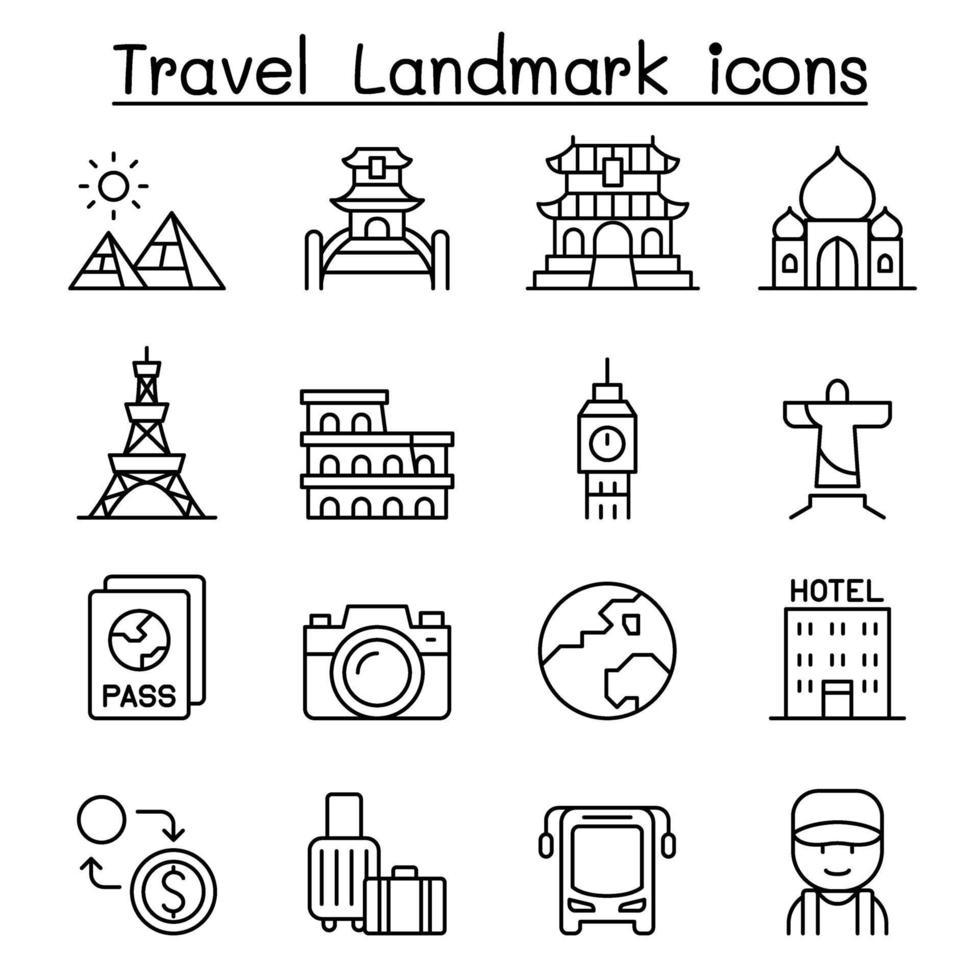 ícone de ponto de referência de viagens em estilo de linha fina vetor