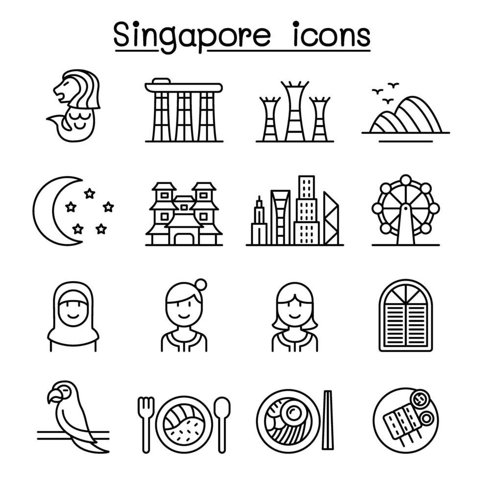 ícone de Singapura definido em estilo de linha fina vetor
