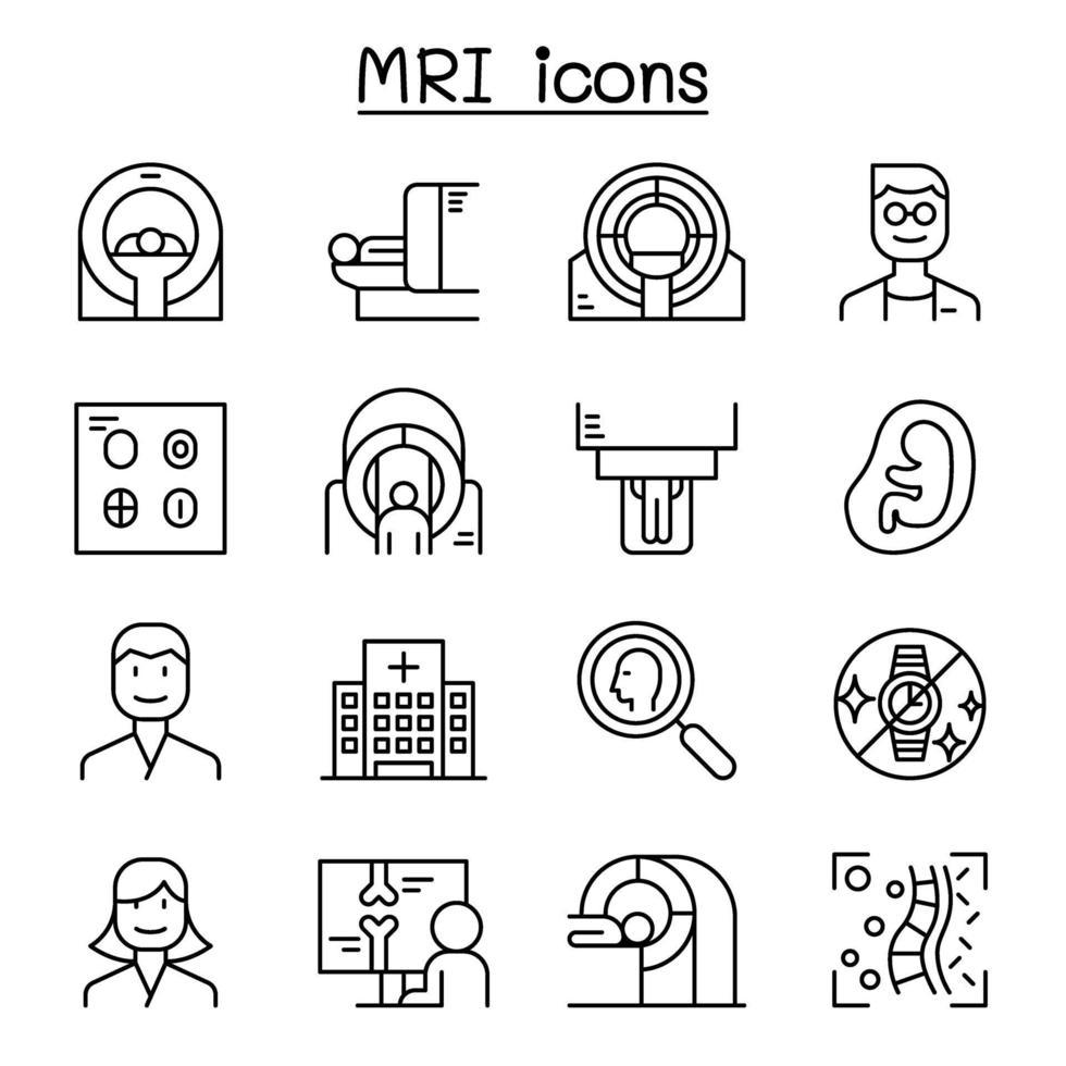 ícone de diagnóstico de ressonância magnética definido em estilo de linha fina vetor