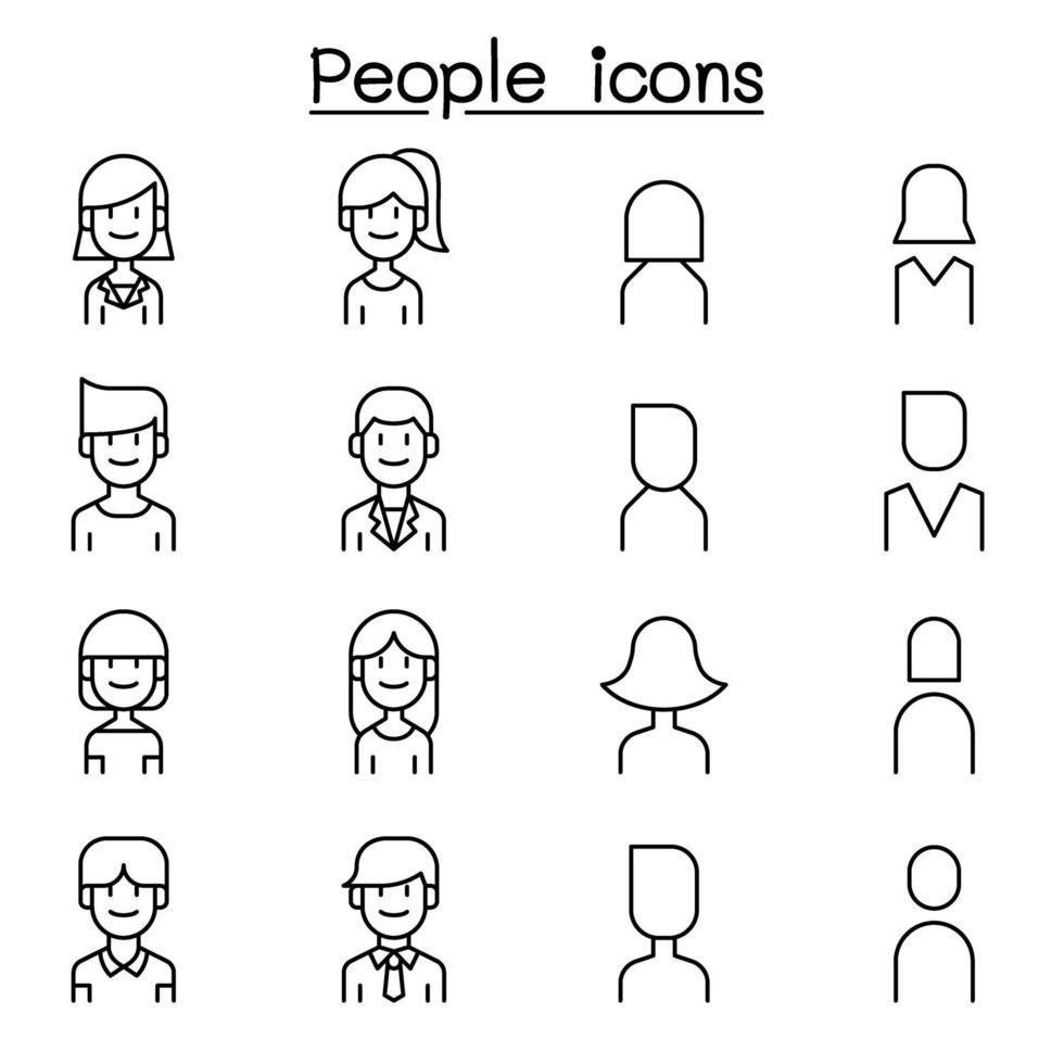 pessoas, ícone do usuário definido em estilo de linha fina vetor