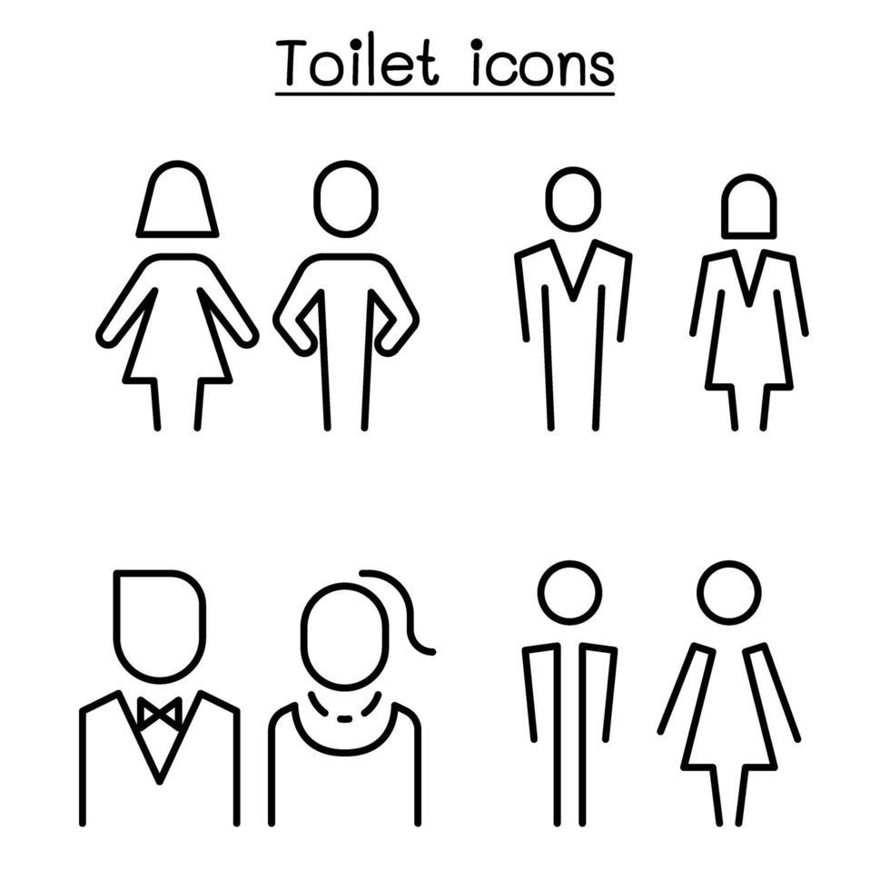 toalete, banheiro, símbolo de banheiro definido em estilo moderno vetor