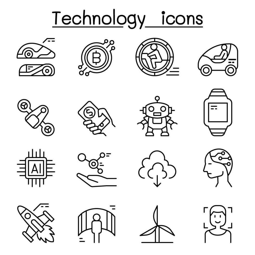 ícone de tecnologia definido em estilo de linha fina vetor