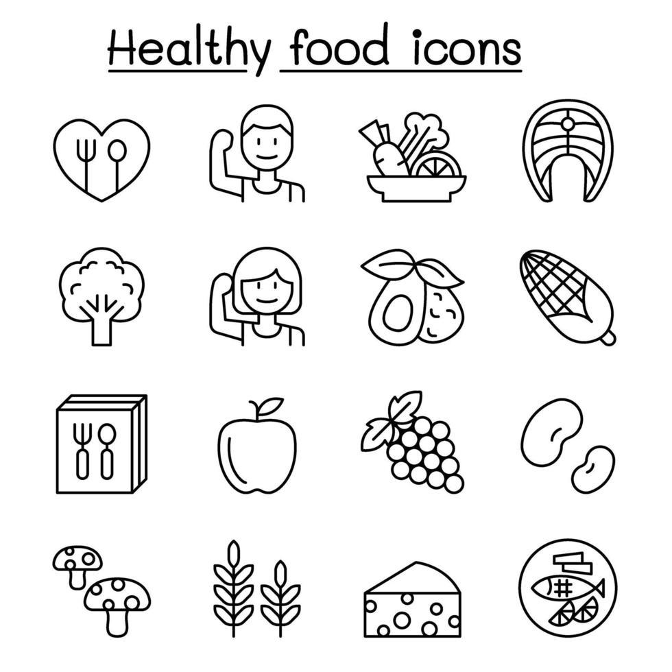 ícone de comida saudável definido em estilo de linha fina vetor