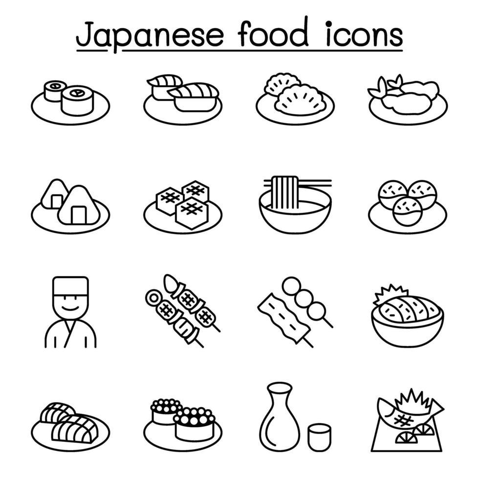 ícone de comida japonesa definido em estilo de linha fina vetor