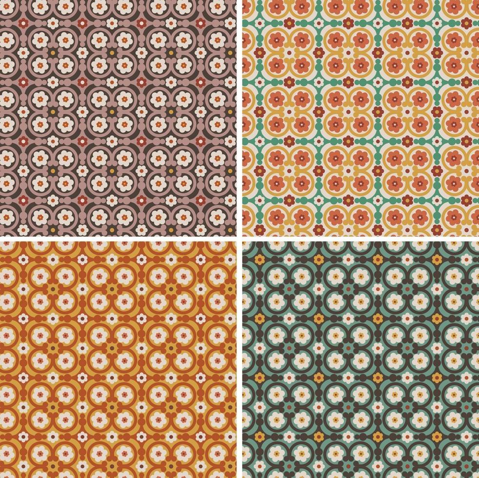 padrões de azulejos de vetores florais ornamentados sem costura